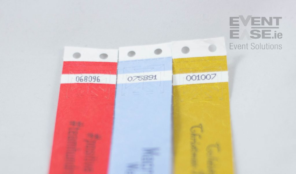 WristbandsTyvek printed with Secureband tamper evident seal
