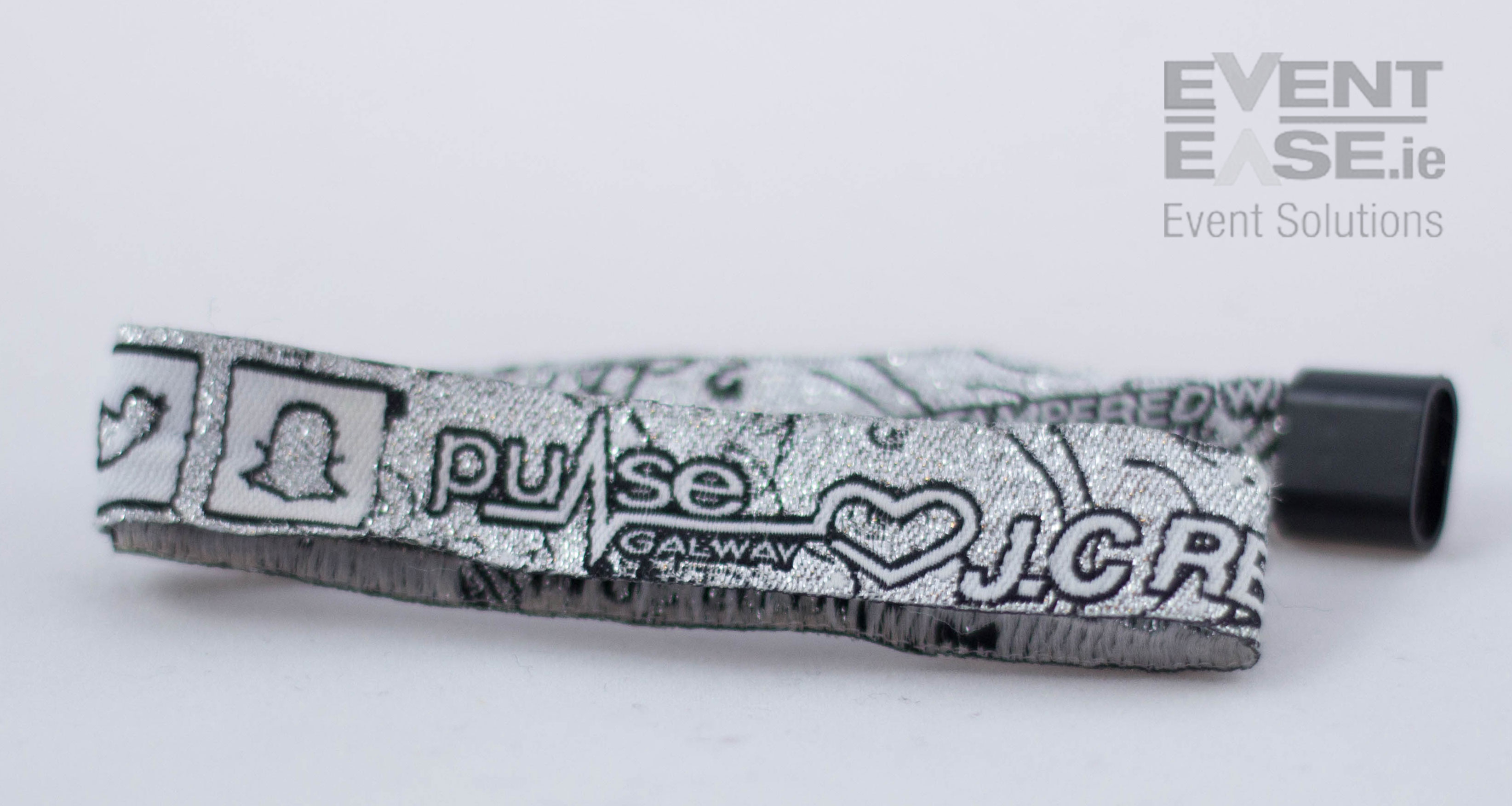 Woven Fabric Wristband with silver thread